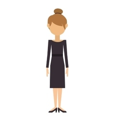 woman with dress and collected hair vector image