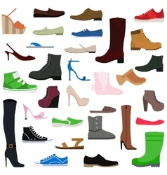 Women shoes isolated collection of various types vector