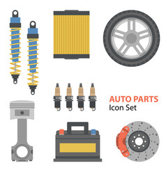 auto part flat set on white vector image vector image