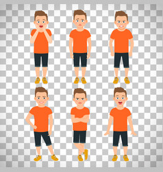 boys different emotions on transparent background vector image vector image