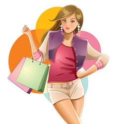 colorful girl shopping vector image vector image