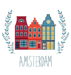 Cute Amsterdam houses set vector image vector image