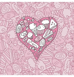 Doodle Cookie Heart And Background vector image vector image