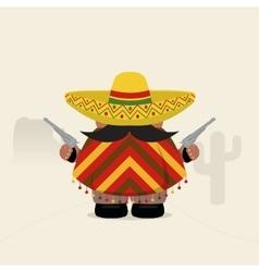 Funny western bandit in sombrero and poncho vector