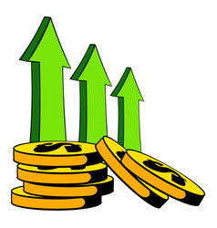 increase of cash income icon cartoon vector image