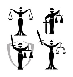 lady justice black set vector image vector image