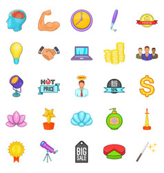 news icons set cartoon style vector image vector image
