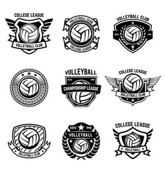 volleyball emblems on white background design vector image vector image