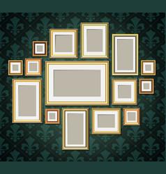 antique vintage wooden photo frames collection vector image