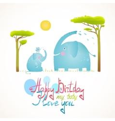Cartoon African Elephants Bathing Happy Birthday vector image vector image