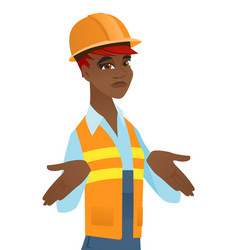 Confused african builder shrugging shoulders vector