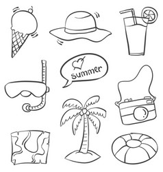 doodle of summer object collection vector image