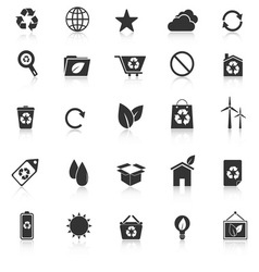 Ecology icons with reflect on white background vector image vector image