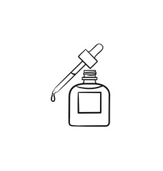 essential oil and pipette hand drawn sketch icon vector image