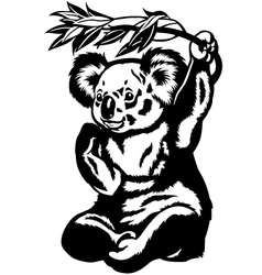koala bear black white vector image vector image