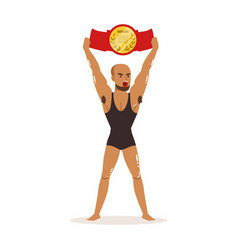 muscularity wrestler in tricot holding vector image