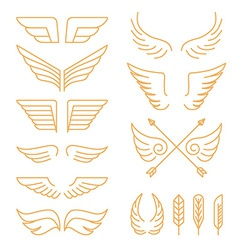 set of linear icons - wings vector image