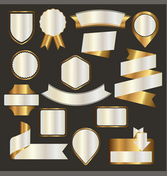 set of nacre emblems badges and ribbons vector image vector image
