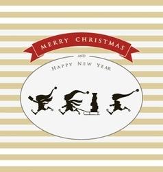 Vintage card with cute elves merry christmas vector