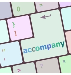 accompany button on the keyboard close-up vector image vector image