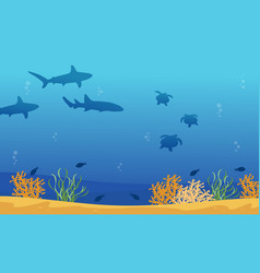 landscape of underwater with shark and turtle vector image