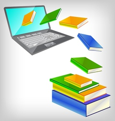 laptop and books vector image vector image