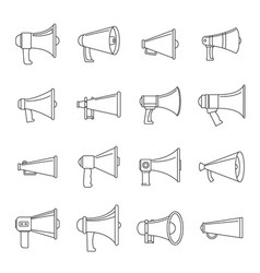 megaphone loud speaker icons set outline style vector image