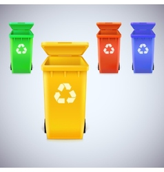 Recycle bins with recycle sign vector image vector image