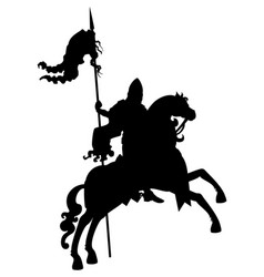 silhouette banner-bearer on a horse vector image