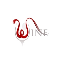 Word wine with letter w in a shape of the flowing vector image