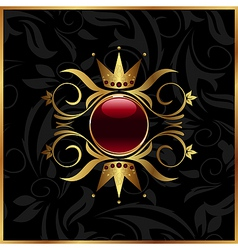 golden floral frame with crown vector image vector image