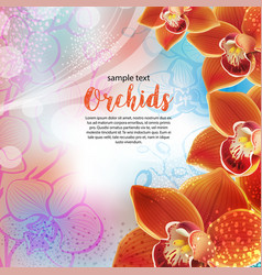 greeting card with orchids flowers vector image