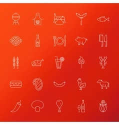 Grill Menu Line Icons vector image vector image