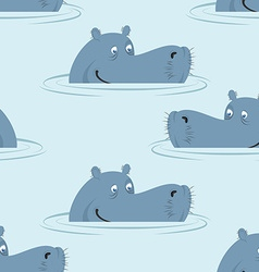 Hippo in water seamless pattern Good hippopotamus vector image