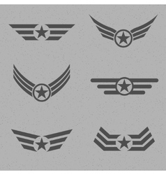 Wings with star vector image
