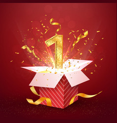 1 st year number anniversary and open gift box vector