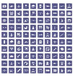 100 plane icons set grunge sapphire vector