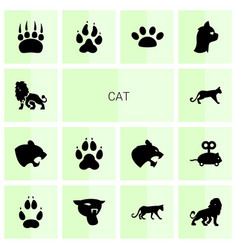 14 cat icons vector