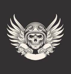 a skull racer in a helmet vector image