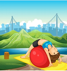 A young woman exercising near the river vector image