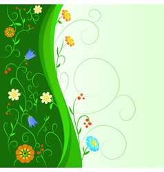 abstract flowers with floral green stem vector image