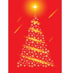 Abstract red christmas tree postcard vector image