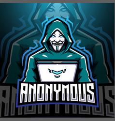 Anonymous esport mascot logo design vector