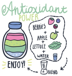 Antioxidant power hand drawn smoothie recip vector image