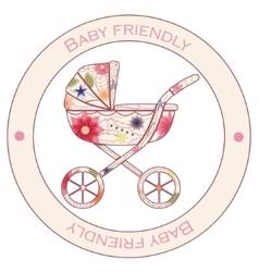 Baby friendly vintage sticker vector