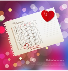 background for Valentines day with the calendar sh vector image
