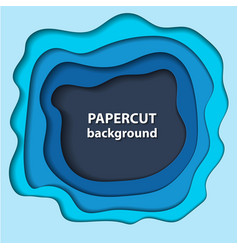 background with blue paper cut shapes 3d abstract vector image