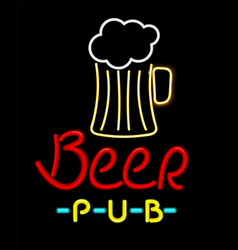 beer pub glowing icon color vector image