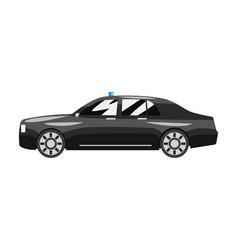 Black classic executive sedan with blue flasher vector