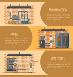 bread production banner web template set vector image
